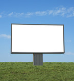 blank bilboard in a green field, add your text or image poster