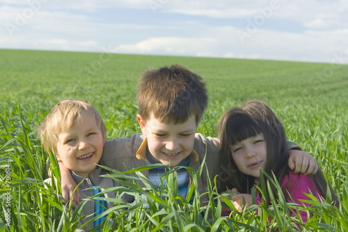children in grass