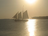 tall ship sailboat at sunset poster
