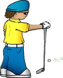 cartoon golfer poster