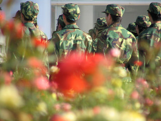 flowers & chinese soldiers