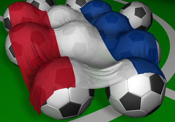 3d-rendering serbia and montenegro flag and soccer-balls