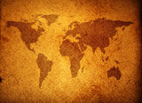 world map over grunge background poster