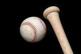baseball and bat on black poster