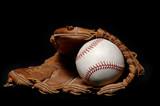 baseball and glove on black poster
