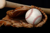 baseball and bat and glove on black poster