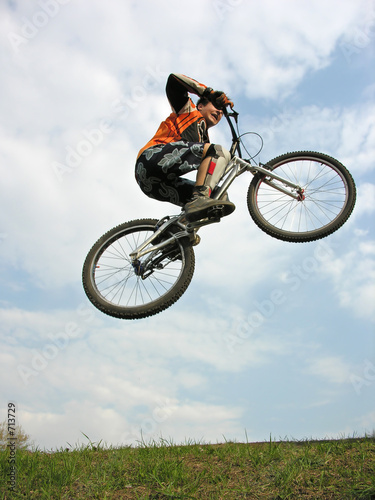 mountain biker flying