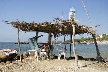 tropical surf shack on the beach