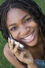 happy phone woman