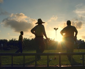 silhouette of croquet players
