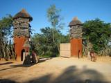 entrée village africain traditionnel poster