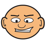 cartoon bald head poster