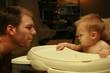 father vs. son staring contest