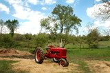 antique farm tractor poster