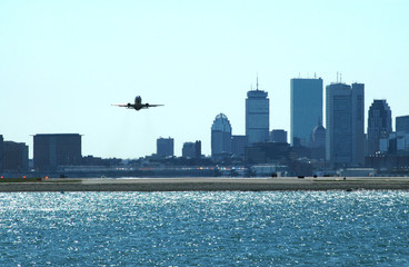 boston skyline with aircraft