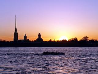 "sunset on ""neva"" river. st-petersburg. russia"