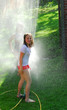 girls and sprinkler
