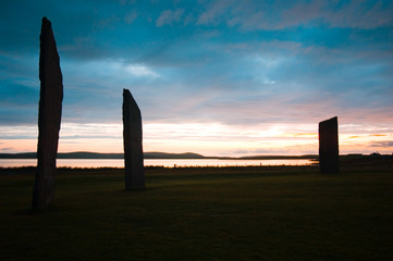 standing stones of stennes, color sunset