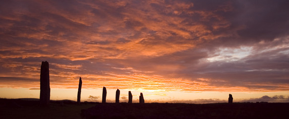 ring of brodgar,orkneys mistic and dramatic sunset