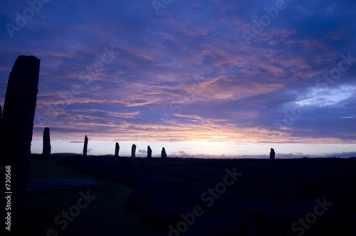 dramatic sunset at ring of brodgar, orkeney's