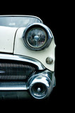 classic white retro car isolated poster