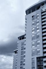 new high-rise urban buildings sepia