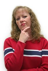 woman looking skeptical and untrusting