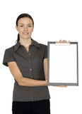 business woman with folder poster