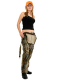 beautiful young woman in camo overalls and tank poster