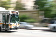 los angeles metro bus rushing downtown