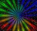rainbow light in night poster