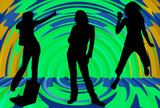 silhouette of girls listening to music poster