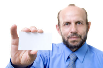 businessman with an empty card