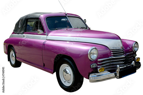 Fotobehang Oude auto s purple retro car isolated