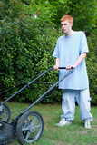 teenager mowing the lawn 1 poster