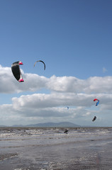 kiteboarders at beach