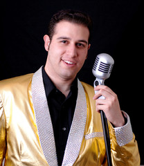 young lounge singer in a gold jacket