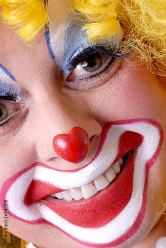 close-up of a female clown