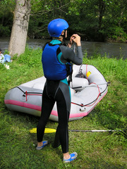 rafting boat, girl with gear