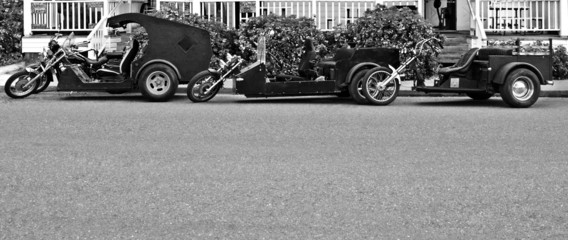 three black and white trikes