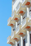 a view of hotel balconies in thessalonica, greece poster