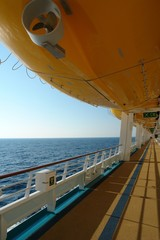 yellow  liferaft on cruiseship