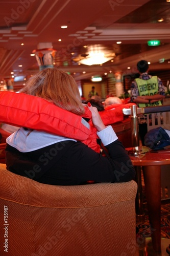 woman during safety drill on cruiseship
