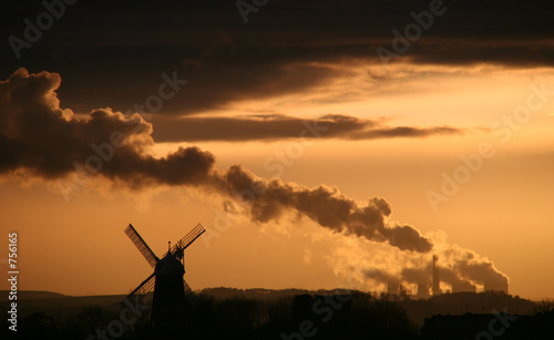 windmill and power station