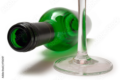 lying wine bottle and wine glass