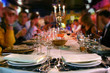 Leinwanddruck Bild - pleasant meal in a restaurant