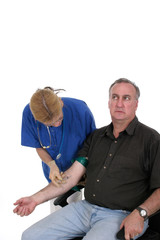 nurse giving shot to anxious patient 2