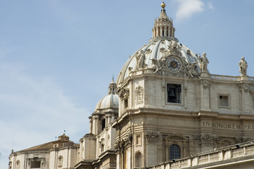 close view of st peter's dome, rome