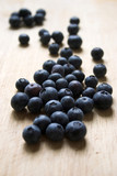 blueberries on a wooden block poster