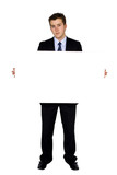 business man holding banner poster